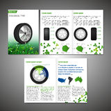 Tyre Brochure Design. Vector ecological tyre brochure template. Modern idea for flyer, book, booklet, brochure and leaflet design. Editable graphic layout with Royalty Free Stock Photo