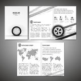 Tyre Brochure Design. Vector tyre brochure template. Modern idea for flyer, book, booklet, brochure and leaflet design. Editable graphic layout with copyspace in Stock Photo