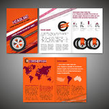 Tyre Brochure Design. Vector tyre brochure template. Modern idea for flyer, book, booklet, brochure and leaflet design. Editable graphic layout with copyspace in Royalty Free Stock Images