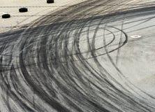 Tyre burnout marks on asphalt road Royalty Free Stock Image