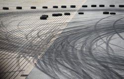 Tyre burnout marks on asphalt road Royalty Free Stock Photo