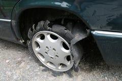 Tyre car. No damage... but destruction tyre car Royalty Free Stock Images