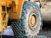 Tyre with chain Royalty Free Stock Photography