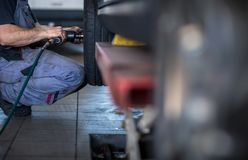 Tyre change - wheel balancing or repair and change car tire stock image