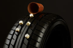 Tyre and Cube Royalty Free Stock Image