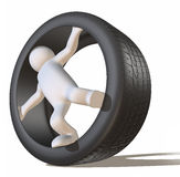 Tyre and 3D man figure Stock Photography
