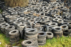 Tyre dump in pasture Royalty Free Stock Photos