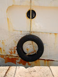 Tyre on Fishing Boat Stock Photography