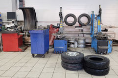 Tyre fitting machine Royalty Free Stock Image