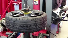 Tyre fitting shop stock video