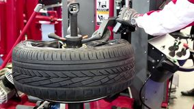 Tyre fitting stock video footage