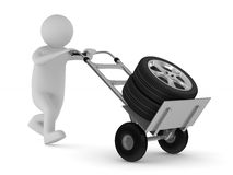 Tyre on hand truck. Isolated 3D Stock Image