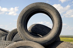 Tyre heap. Heap of the old worn out automobile tyre covers Stock Photos