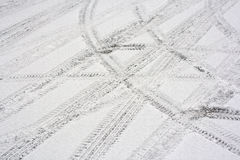 Tyre marks. In fresh snow Royalty Free Stock Photo