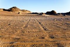 Tyre marks in the desert. Near bahariya, Egypt Royalty Free Stock Image