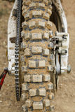 Tyre of motocross bike Stock Images