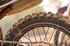 Tyre of motocross Stock Photo