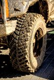 Tyre off an off road car with mud royalty free stock image
