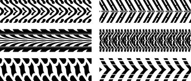 Tyre pattern. Seamless vector illustration of five tyre pattern on white background Stock Photos