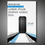 Tyre Poster Image. Vector Tyre poster template. Modern idea for flyer, book, booklet, brochure and leaflet design. Editable graphic layout with copyspace in grey Stock Photos