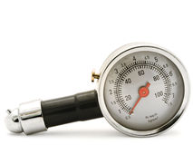 Tyre pressure gage. With zero point over white stock image