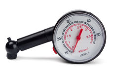 Tyre pressure gauge Stock Photo