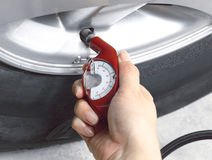 Tyre pressure gauge Stock Photography