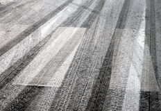 Tyre prints on asphalt Stock Photography