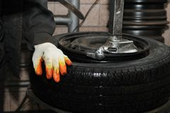 Tyre repairing Royalty Free Stock Images