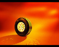 Tyre in Sand. New Tyre with their mark in sand left behind Stock Photos