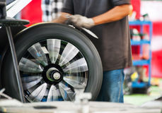 Tyre Service by Mechanic royalty free stock photo