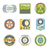 Tyre shop vintage flat badges Stock Photo