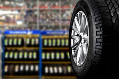 Tyre. Showing for sell or fix in the shop stock photography