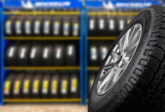 Tyre. Showing for sell or fix in the shop stock photo