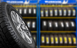 Tyre. Showing for sell or fix in the shop Royalty Free Stock Photo