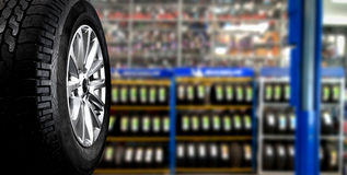 Tyre. Showing for sell or fix in the shop royalty free stock image