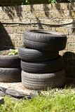 Tyre Stack for Potato Planting. Stack of reclaimed tyres being used for growing potatoes Royalty Free Stock Image
