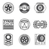 Tyre store logo. Vintage car vector label Stock Photography