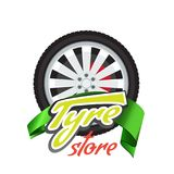 Tyre store or repair logo with green ribbon. Modern, solid and flat color style design vector. vector illustration
