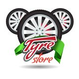 Tyre store or repair logo with green ribbon. Modern, solid and flat color style design vector. stock illustration