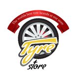 Tyre store or repair logo with red ribbon. Modern, solid and flat color style design vector. stock illustration
