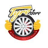 Tyre store or repair logo with red ribbon. Modern, solid and flat color style design vector. vector illustration