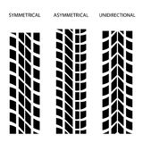 Tyre symmetrical asymmetrical unidirectional Stock Photo