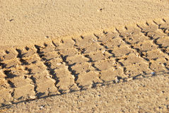 Tyre trace. On the sand close up Royalty Free Stock Photography