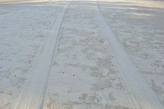 Tyre track on the beach. Car tyre track on the beach Stock Photography