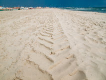 Tyre track in the sand pattern Stock Images