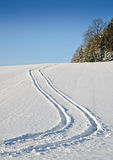 Tyre Track in the Snow. In an austrian Landscape Stock Photo