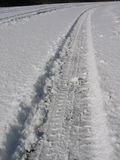 Tyre track in snow. Tyre track on a snow covered road Royalty Free Stock Photos