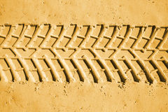 Tyre tracks. Car tyre tracks in the sand. Beach 4wd background Stock Image