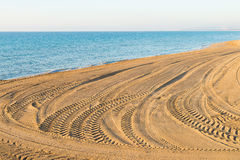 Tyre tracks on a beach Royalty Free Stock Photos